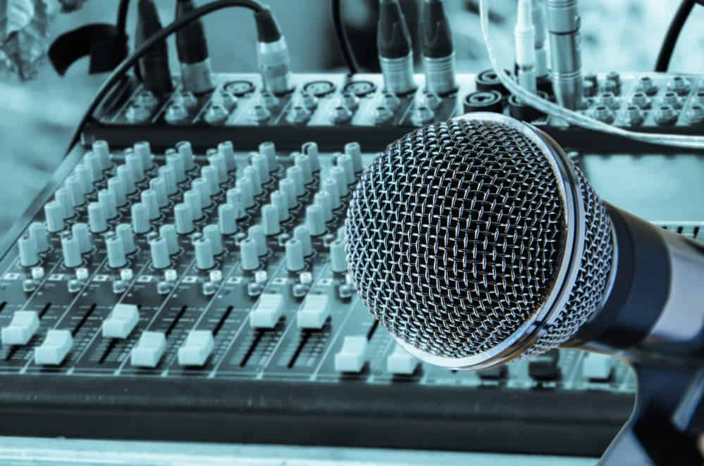 microphone with mixing audio console