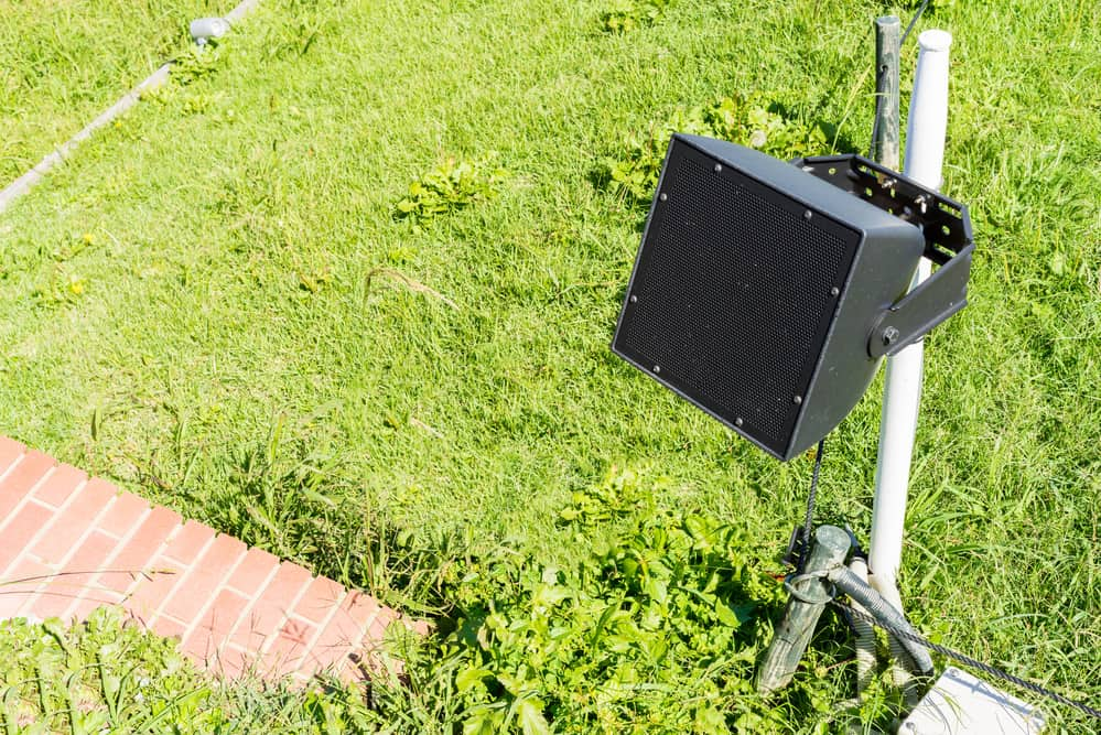 speaker installed in the garden