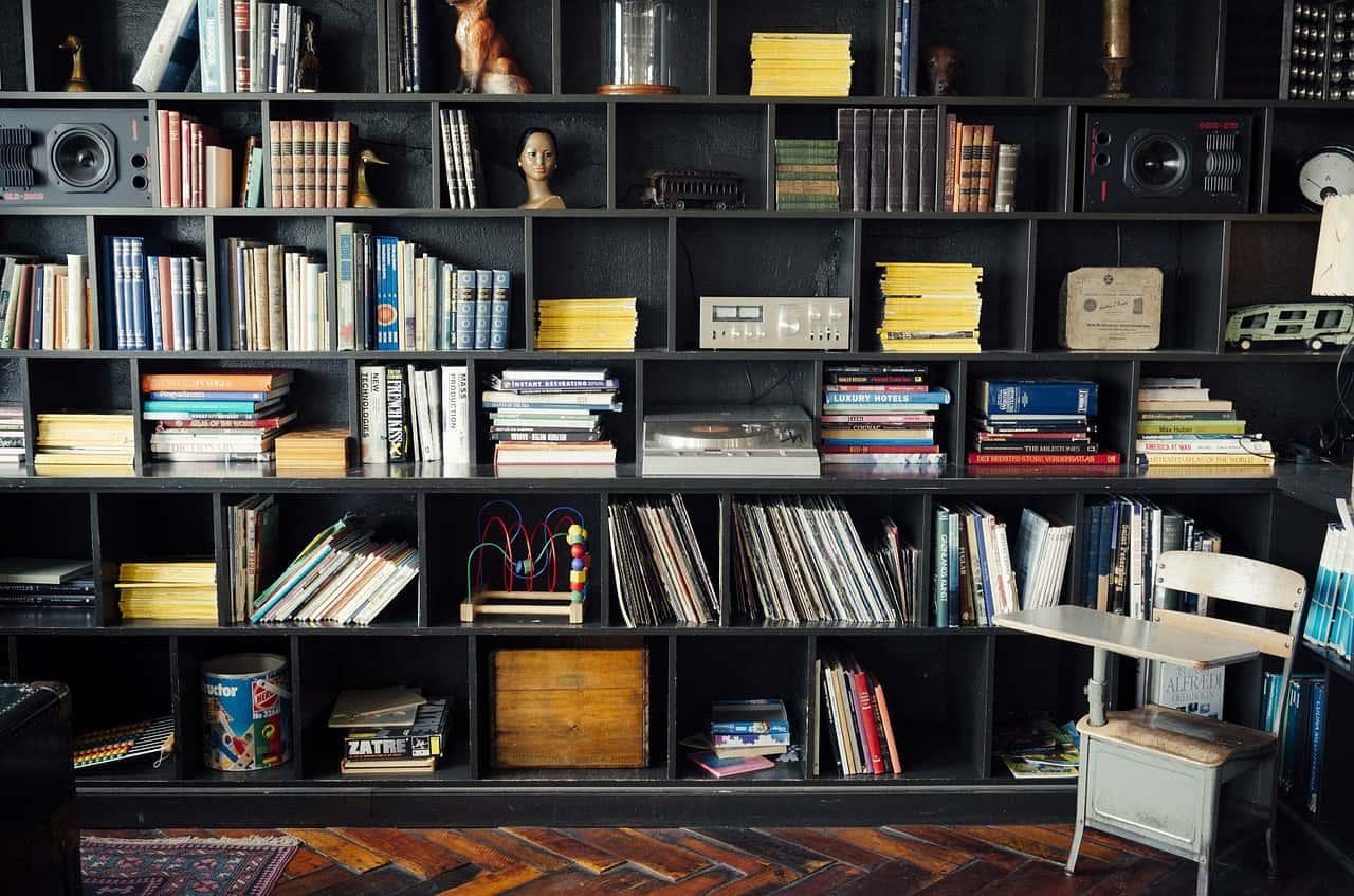 bookshelf with speakers setup