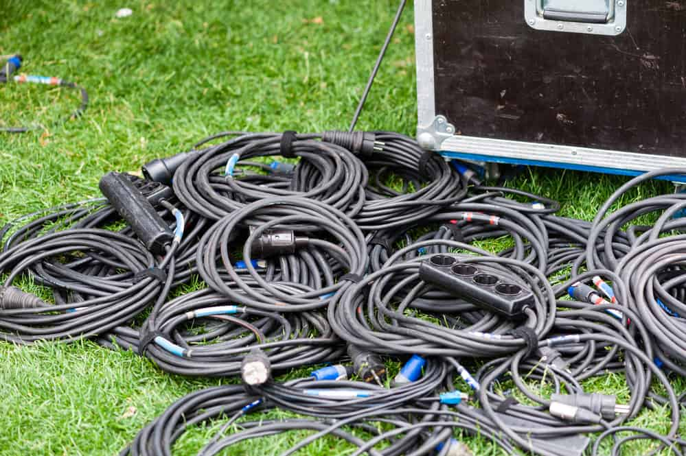 coiled black electric wires