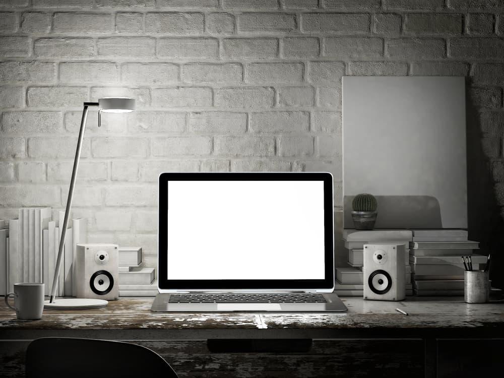 Laptop in night room